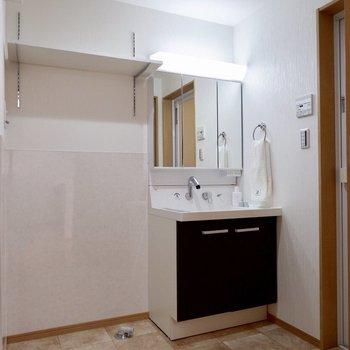 洗面台の鏡の後ろは収納になっています