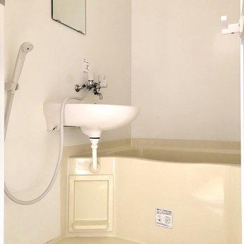 2点ユニットですが、お掃除はシャワーでまとめてできます※写真はフラッシュを使用しています
