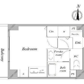 シンプルなワンルームです