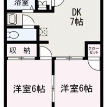 同じ大きさの洋室がある2DKタイプ。