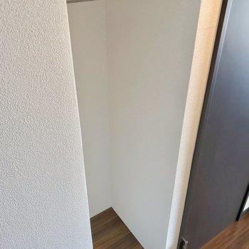 廊下には高さ低めの収納もありました。掃除用品を吊るしておきたい!