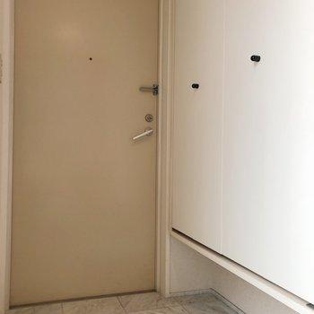 大理石のようなタイルの玄関