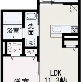 対面式キッチンのある1LDK