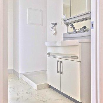 脱衣所は白基調で清潔感。
