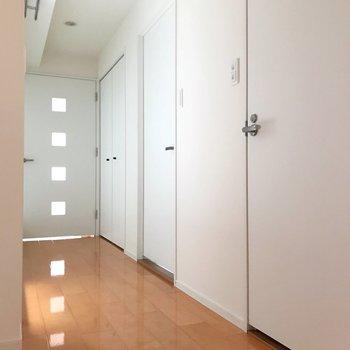 玄関側から廊下を眺める。右側には扉がたくさん。