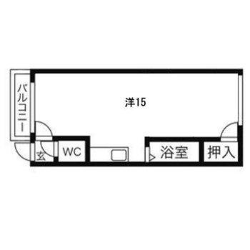 シンプルで使いやすい1Rのお部屋です。