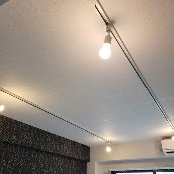天井にはライティングレール。ドライフラワーを吊り下げてもいいかも。