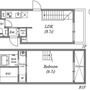 寝室は地下に。