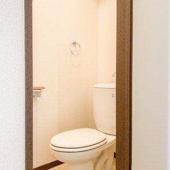 トイレの上にも収納スペースがありますよ。