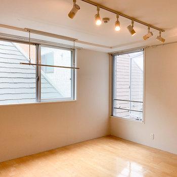 角には窓が2つ。部屋干しのポールも付いています。