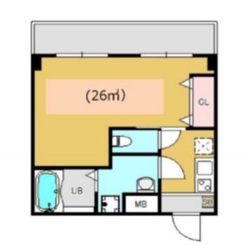 L字型のリビングが特徴的なお部屋です ※写真と間取り図は反転です