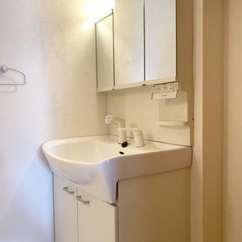 独立洗面台は鏡裏収納付き○(※写真は清掃前、2階の反転間取り別部屋のものです)