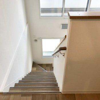 メゾネットの階段を登って上へ