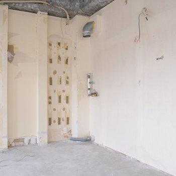 キッチンや水回りはこの空間に