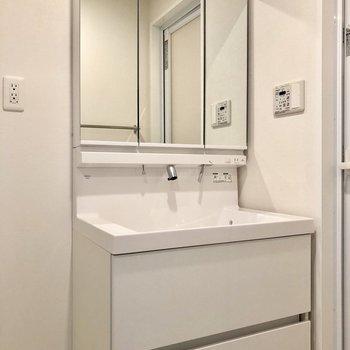 大きな洗面台。※写真は5階の同間取り別部屋のものです