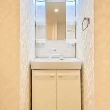 独立洗面台。LEDライトも付いてます。