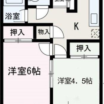 収納スペースたっぷりの2Kのお部屋。
