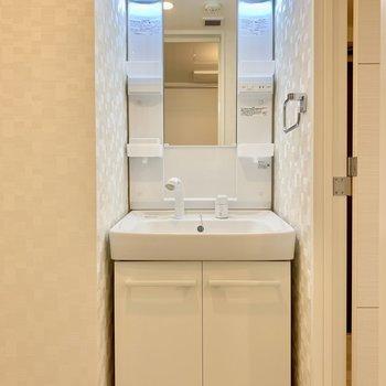 独立洗面台。トイレは個室ですよ。 ※写真は5階の同間取り別部屋のものです