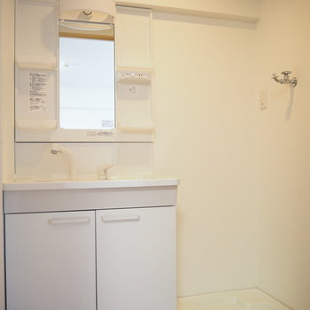 洗面台も洗濯機置場も新品です!