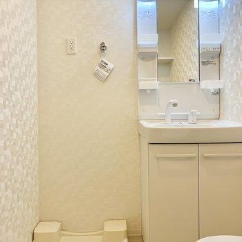 こちらは洗濯機。脱いだらすぐポイ! ※写真は5階の同間取り別部屋のものです