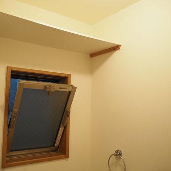 トイレにも窓がついています。上部のラックにはトイレットペーパーを置けますね