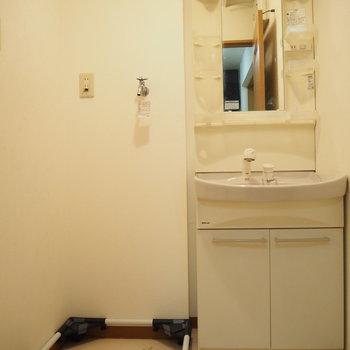 独立洗面台と、少し変わった洗濯機置場!