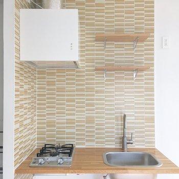 キッチンの柄がお部屋のアクセントになってます。