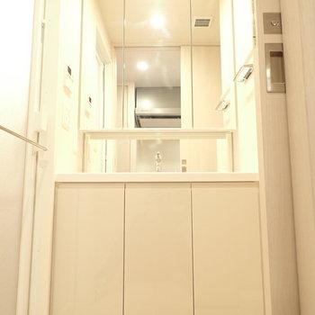 洗面台が大きめでした!この余裕が気持ちにも伝わってきます。(※写真は10階の同間取り別部屋のものです)