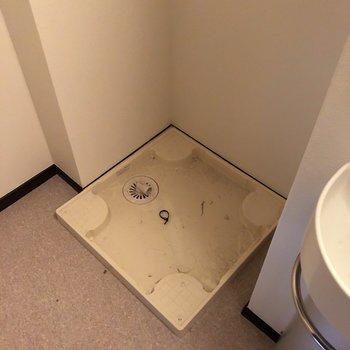 脱衣所に洗濯機。入る前に脱いだ服をすぐ洗えますね。