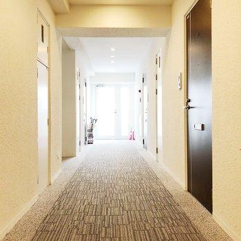 共用廊下は明るい雰囲気です