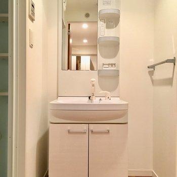 洗面台も大きいし、横にはタオル掛けポールもついています。(※写真は2階の同間取り別部屋のものです)