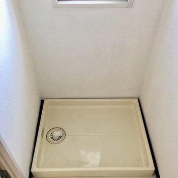 洗濯機置場とこじんまり脱衣所。窓付きがうれしい。