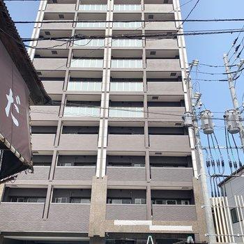 12階建ての新築マンション。敷地内にゴミ置き場ありました◎