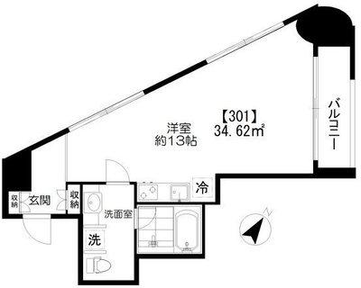 Studio Apartment KEN の間取り