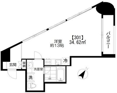 Studio Apartment KEN の間取り