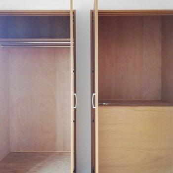2階の収納は、左右でカテゴリー分けもよし