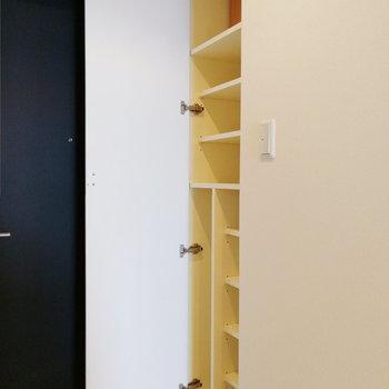 縦長の靴箱がひとつ。傘も入れられますよ。※写真は12階の反転間取り別部屋のものです