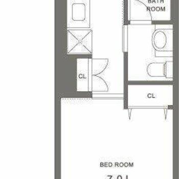 程良い広さの1K。917号室は画像を反転させた間取りです。