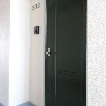 深いグリーンの扉と部屋番号がオシャレなんです。