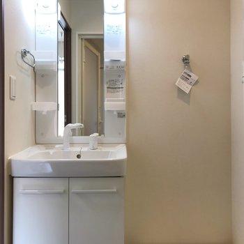 洗面台の右隣は洗濯機置き場です