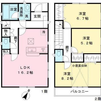 各部屋に収納スペースがあります。