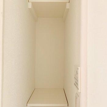 浴室横にはコンパクトな収納棚。タオルも置けそう。