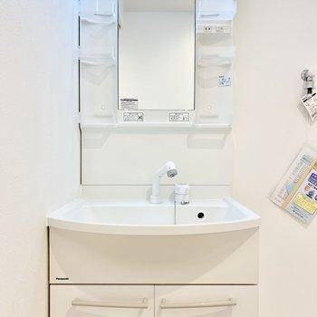 独立洗面台。コンセントもしっかりあって使いやすそう。