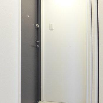 玄関はシックな雰囲気※写真は3階の同間取り別部屋のものです