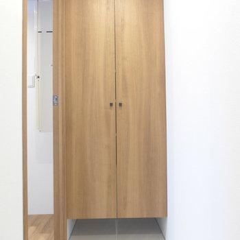 玄関入って正面には大きめの下駄箱※写真は3階の同間取り別部屋のものです