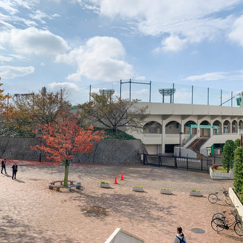 隣には県営の野球場も。