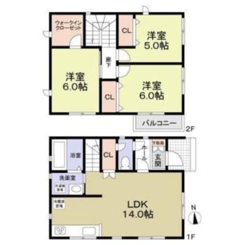 2階建て、3LDK間取りのお家です。
