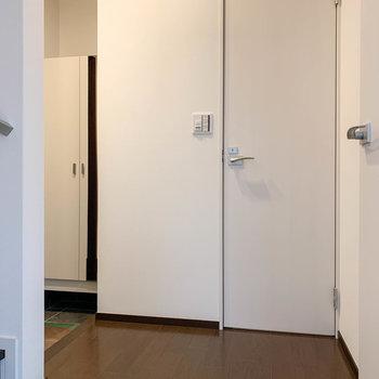 玄関前のホールです。扉はトイレです。