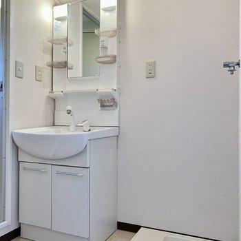 洗面台は歯ブラシスタント付き。