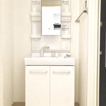 独立洗面台はポケット収納も充実。